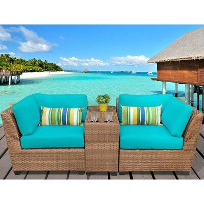 Laguna 3 Piece Lounge Seating Group with Cushion Fabric: Aruba