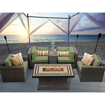 Venice 6 Piece Fire Pit Seating Group with Cushion Fabric: Cilantro