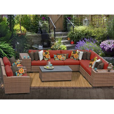 Laguna 11 Piece Sectional Seating Group with Cushion Fabric: Terracotta