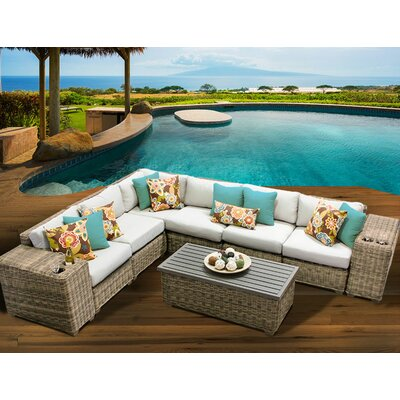 Cape Cod 9 Piece Sectional Seating Group with Cushion Fabric: Beige
