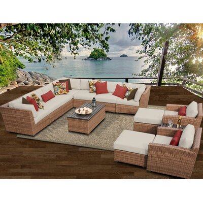 Laguna 13 Piece Sectional Seating Group with Cushion Fabric: Beige