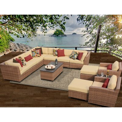 Laguna 13 Piece Sectional Seating Group with Cushion Fabric: Sesame