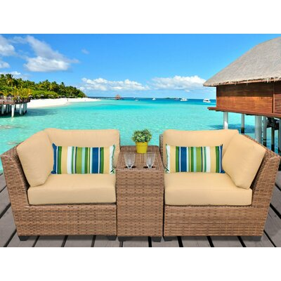 Laguna 3 Piece Lounge Seating Group with Cushion Fabric: Sesame