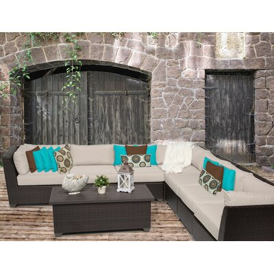 Barbados 8 Piece Sectional Seating Group with Cushion Fabric: Beige
