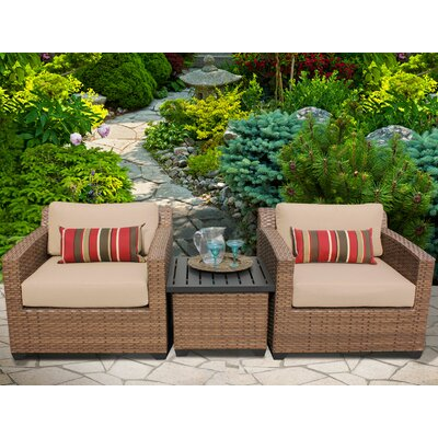 Laguna 3 Piece Lounge Seating Group with Cushion Fabric: Wheat