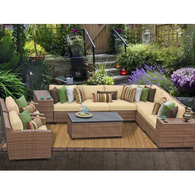 Laguna 11 Piece Sectional Seating Group with Cushion Fabric: Sesame