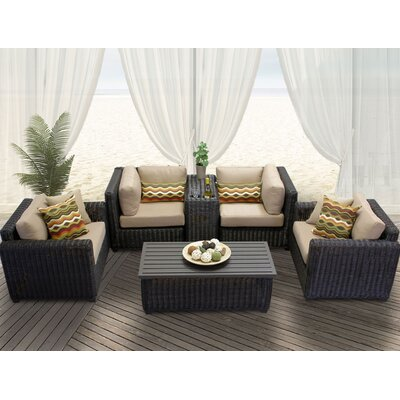 Venice 6 Piece Deep Seating Group with Cushion Fabric: Wheat