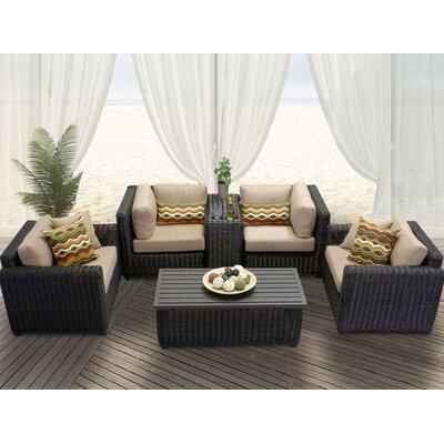 Venice 6 Piece Deep Seating Group with Cushion Fabric: Wheat