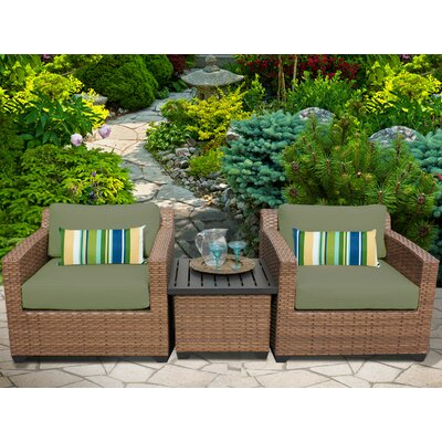 Laguna 3 Piece Lounge Seating Group with Cushion Fabric: Cilantro