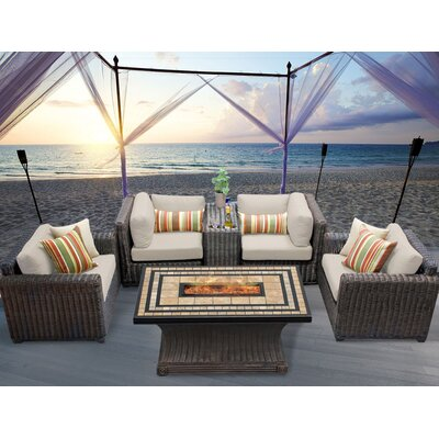 Venice 6 Piece Fire Pit Seating Group with Cushion Fabric: Beige