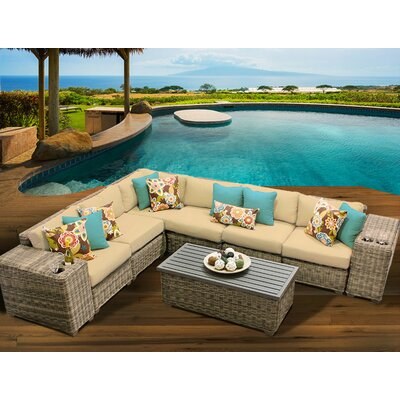 Cape Cod 9 Piece Sectional Seating Group with Cushion Fabric: Sesame