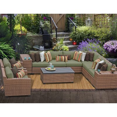 Laguna 11 Piece Sectional Seating Group with Cushion Fabric: Cilantro