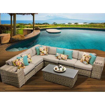 Cape Cod 9 Piece Sectional Seating Group with Cushion Fabric: Wheat