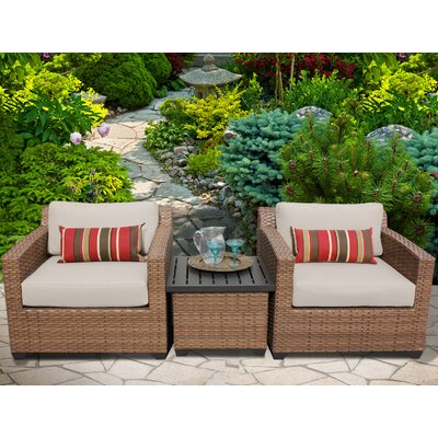 Laguna 3 Piece Lounge Seating Group with Cushion Fabric: Beige