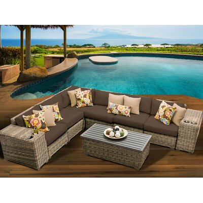 Cape Cod 9 Piece Sectional Seating Group with Cushion Fabric: Cocoa