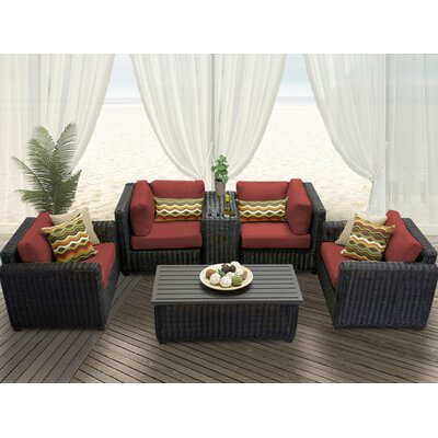 Venice 6 Piece Deep Seating Group with Cushion Fabric: Terracotta