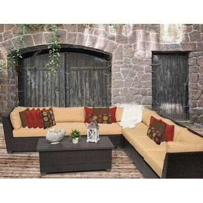 Barbados 8 Piece Sectional Seating Group with Cushion Fabric: Sesame