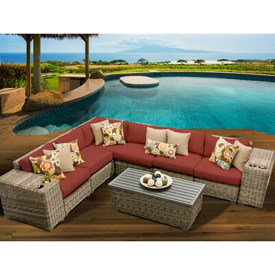 Cape Cod 9 Piece Sectional Seating Group with Cushion Fabric: Terracotta