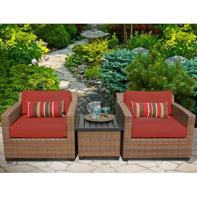 Laguna 3 Piece Lounge Seating Group with Cushion Fabric: Terracotta