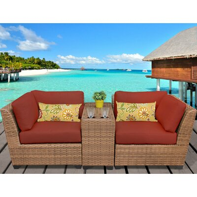 Laguna 3 Piece Lounge Seating Group with Cushion Fabric: Terracotta