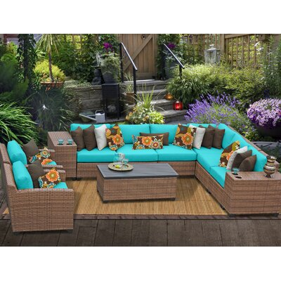 Laguna 11 Piece Sectional Seating Group with Cushion Fabric: Aruba