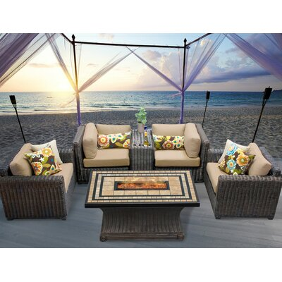 Venice 6 Piece Fire Pit Seating Group with Cushion Fabric: Wheat