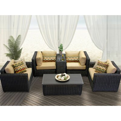 Venice 6 Piece Deep Seating Group with Cushion Fabric: Sesame