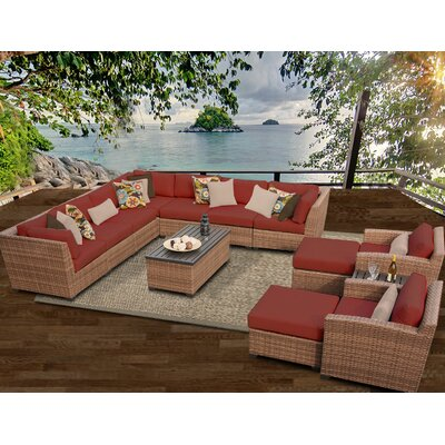 Laguna 13 Piece Sectional Seating Group with Cushion Fabric: Terracotta