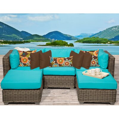Cape Cod 5 Piece Sectional Seating Group with Cushion Fabric: Aruba