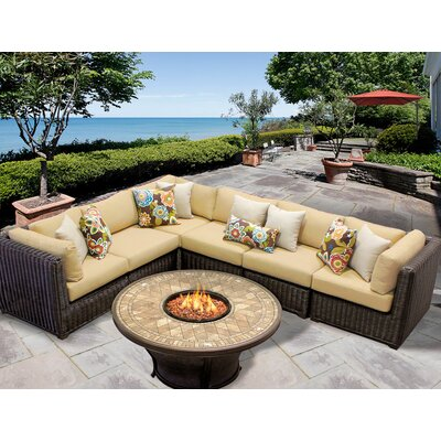 Venice 7 Piece Fire Pit Seating Group with Cushion Fabric: Sesame