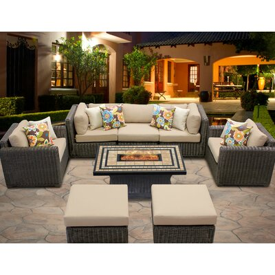 Venice 8 Piece Fire Pit Seating Group with Cushion Fabric: Wheat