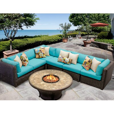 Venice 7 Piece Fire Pit Seating Group with Cushion Fabric: White