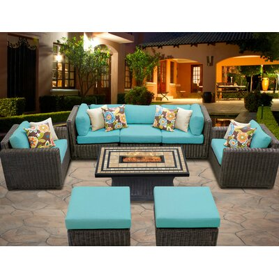 Venice 8 Piece Fire Pit Seating Group with Cushion Fabric: White