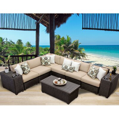 Venice 9 Piece Sectional Seating Group with Cushion Fabric: Wheat