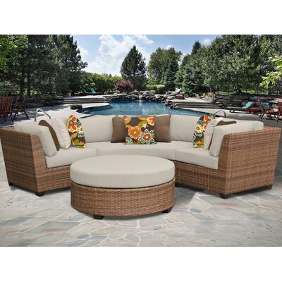 Laguna 4 Piece Sectional Seating Group with Cushion Fabric: Beige