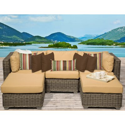 Cape Cod 5 Piece Sectional Seating Group with Cushion Fabric: Sesame