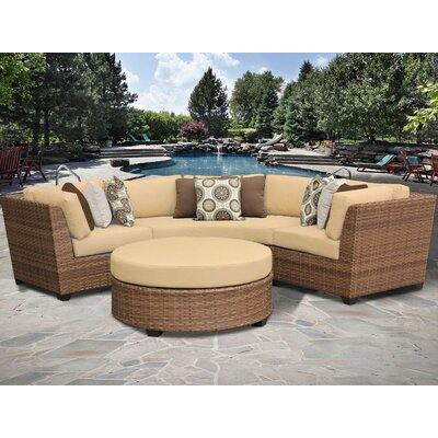 Laguna 4 Piece Sectional Seating Group with Cushion Fabric: Sesame
