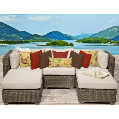 Cape Cod 5 Piece Sectional Seating Group with Cushion Fabric: Beige