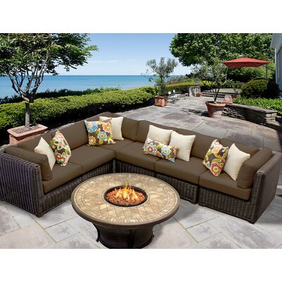 Venice 7 Piece Fire Pit Seating Group with Cushion Fabric: Cocoa