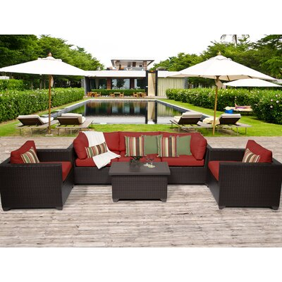 Belle 6 Piece Deep Seating Group with Cushion Fabric: Terracotta