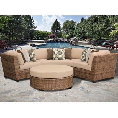 Laguna 4 Piece Sectional Seating Group with Cushion Fabric: Wheat