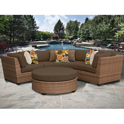 Laguna 4 Piece Sectional Seating Group with Cushion Fabric: Cocoa