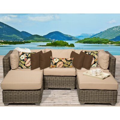 Cape Cod 5 Piece Sectional Seating Group with Cushion Fabric: Wheat