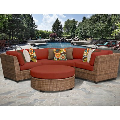 Laguna 4 Piece Sectional Seating Group with Cushion Fabric: Terracotta