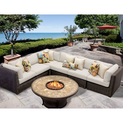 Venice 7 Piece Fire Pit Seating Group with Cushion Fabric: Beige