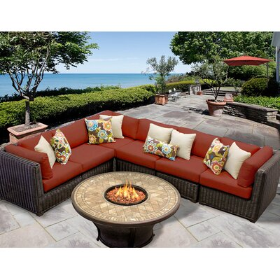 Venice 7 Piece Fire Pit Seating Group with Cushion Fabric: Terracotta
