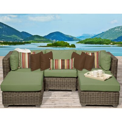 Cape Cod 5 Piece Sectional Seating Group with Cushion Fabric: Cilantro