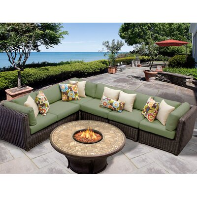 Venice 7 Piece Fire Pit Seating Group with Cushion Fabric: Cilantro
