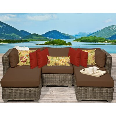 Cape Cod 5 Piece Sectional Seating Group with Cushion Fabric: Cocoa