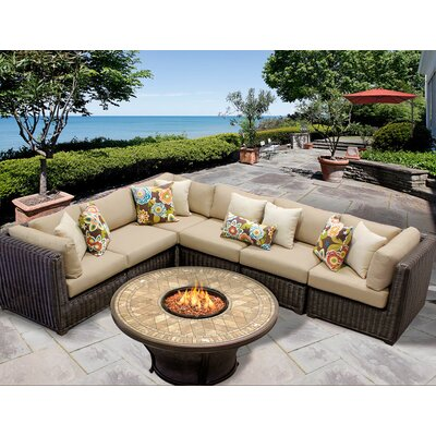 Venice 7 Piece Fire Pit Seating Group with Cushion Fabric: Wheat